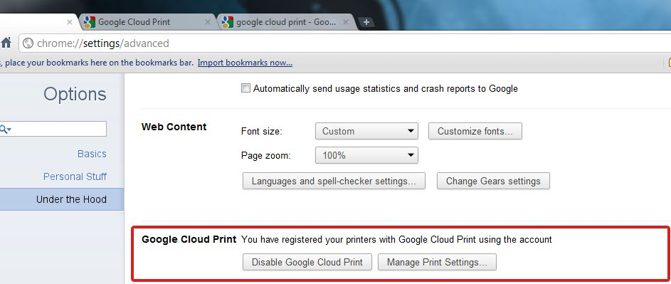Google Cloud Print - Settings